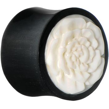 24mm Hand Carved Bone Flower Horn Saddle Plug