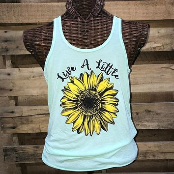 Southern Chics Live a Little Sunflower Canvas T Shirt Tank Top