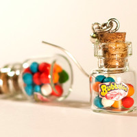Polymer clay kawaii earrings gum balls bottle jar by Zoozim