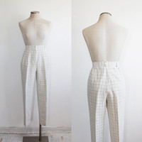 Vintage 90s Linen White Grid Print Pleated Trousers | women's 10