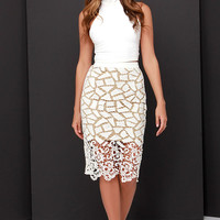 Porcelain Heart Beige and Cream Lace Midi Skirt