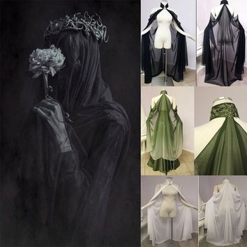 Cosplay Women Medieval Style Renaissance Cape Off Shoulder Elegant Pixie Cape Fariy Cape