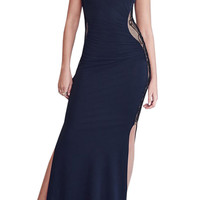 Dark Blue Cutout Lace Ruched Cocktail Maxi Dress