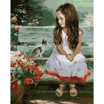 Home Decoration 40x50cm Picture Paint on Canvas DIY Digital Oil Painting Paint by Numbers Drawing Coloring Baby Angel and cat