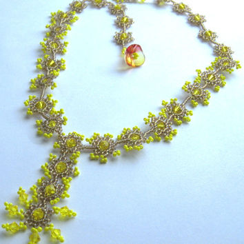 Bright Summery Yellow Necklace, Beadwork OOAK