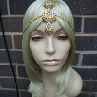 Handmade Gold and Turquoise Crystal Head Chain / Bindi / Tika