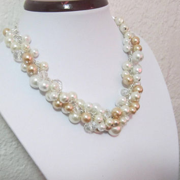 Bridesmaid Pearl Necklace, Ivory and Champagne Pearl Cluster Necklace, Chunky Necklace, Bridal Jewelry, Weddings Bridesmaid Jewelry