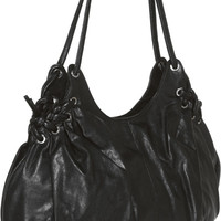 DAVID JONES Black Hobo Shoulder Bag w/ Braided Grommets Detail