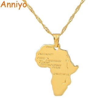 Anniyo 9 Style Africa Map Pendant Necklace for Women/Men Silver/Gold Color Ethiopian Jewelry