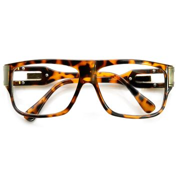 Classic Retro Double Hinged Clear Lens Aviator Glasses