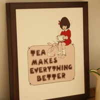 $98.20 Tea Makes Everything Better by belleandboo on Etsy