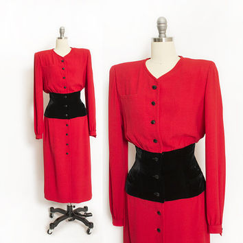 Vintage VALENTINO Dress - 1980s Red Crepe + Black Velvet Cocktail Designer 80s - Large
