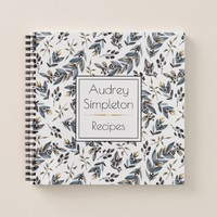 Watercolor Black Tan Leaves Square Recipe Book |