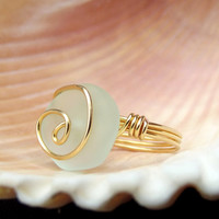 Light Aqua Sea Glass Ring: 24K Gold Swirl Spiral Wire Wrapped Beach Jewelry, Mint Seafoam Green Ring, Size 6
