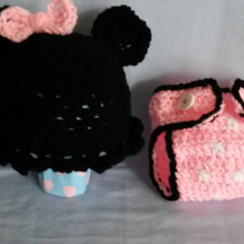 0-3 Month Minnie Mouse Inspired hat and diaper cover (set, pink, polka dot, bow, baby shower, girl)