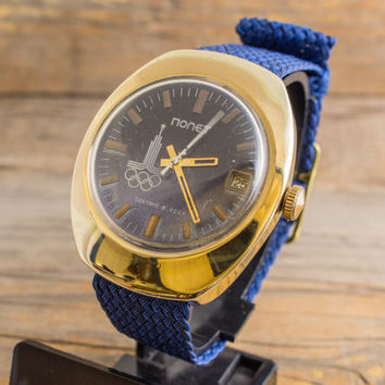 Vintage Boctok Wostok Olimpics game 1980 Moscow men's watch russian watch, gold plated ussr ccp soviet watch