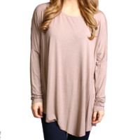 Taupe Piko Long Sleeve Asymmetrical Top