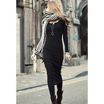 Black Long Sleeve Maxi Dress