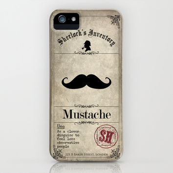 Sherlock Holmes Inventory - Fake Mustache iPhone & iPod Case by VectoriaDesigns