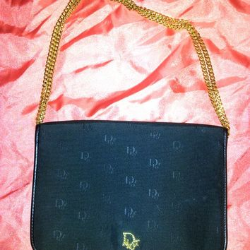 Vintage Dior purse monogram outside,leather inside