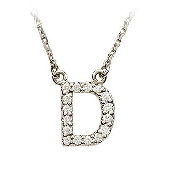1/6 Cttw G-H, I1 Diamond initial Necklace in 14k White Gold, Letter D