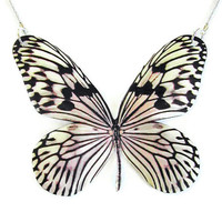 Necklace RICE PAPER BUTTERFLY Cruelty-free replica large pendant