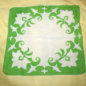 Vintage Handkerchief Green and White Floral Design Hawaiian Style Celery Green Elegant Stocking Stuffer