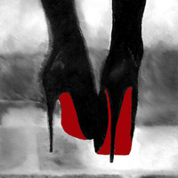 """Art Print of CHRISTIAN LOUBOUTIN Womens Black Shoes Oil Painting 10 x 8 """"  High Heels Black and White Edition"""