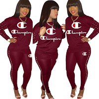 Champion new tide brand female letter printing set two-piece Burgundy