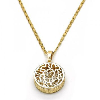 Gold Layered 04.63.1350.18 Fancy Necklace, Butterfly Design, with White Cubic Zirconia, Diamond Cutting Finish, Golden Tone