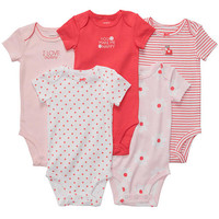 Carter's Girls 5 Pack Assorted Ladybug Bodysuits with Applique