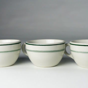 Wellsville China Vintage Coffee Cups Green Stripe 1940s Diner China Restaurant Ware