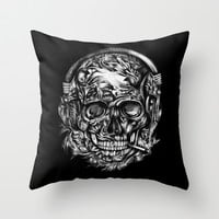 Smoking Skull with headphones from hand illustration in black and white.  Throw Pillow by Kristy Patterson Design