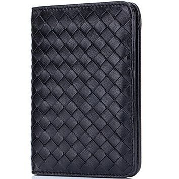 Genuine Leather Passport Cover Knitting Style Change Wallet Male Business Passport Holder Card Holder