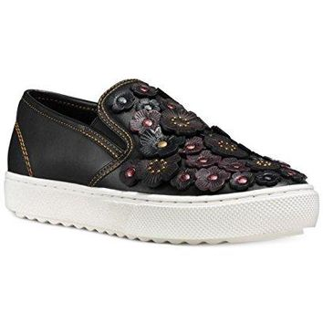 Coach Tea Rose Embellished Leather Skate Sneakers Black