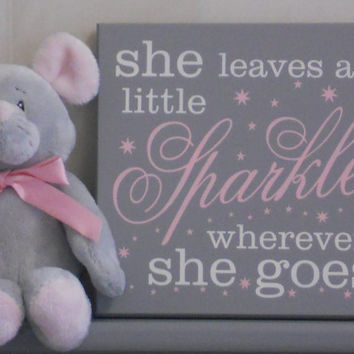 She Leaves A Little Sparkle Wherever She Goes - Nursery Signs - Gray and Light Pink Baby Girl Nursery Decor, She Sparkles Wood Sign Stars