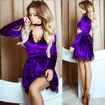 Hot style v-neck collar dress Velvet sexy lace Purple