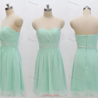 Mint bridesmaid dress - short bridesmaid dress / green prom dress / short prom dress / green short party dress / green evening dress