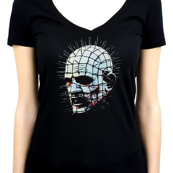 Pinhead Hellraiser Women's V-Neck Shirt Top Horror Occult
