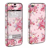 Apple iPhone 4 or 4s Full Body Vinyl Decal Sticker Skin Pink Floral By Skinguardz