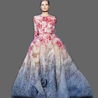 Runway Maxi Dress Women's Long Sleeve Sweet Floral Printed Celebrity Party Ball Gown