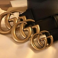 GUCCI Trending Women Men Double G Pearl Smooth Buckle Leather Belt