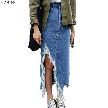 PLAMTEE Asymmetrical Long Maxi Skirts For Women Summer Apparel 2017 Streetwear Style Tassel Jupe Jean Femme Casual Split Rokken