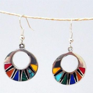 Mosaic Hoop Silver Earrings