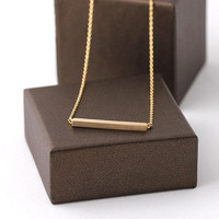 Golden Bar Necklace by bythecoco on Etsy