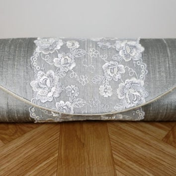 Silver gray clutch, silk clutch purse, lace clutch bag, white embroidered flowers, silver clutch
