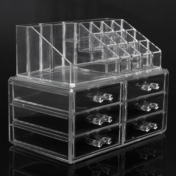 6 Drawers Clear Acrylic Makeup Organizer Jewelry Nail Polish Eyeliner Display Case