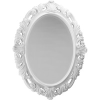 "CP Oval Mirror Wood Decorated Frame for Bathroom Vanity, Bedroom, 30.3"" X 38.2"""
