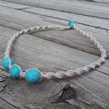 Beaded Hemp Necklace Choker with Vibrant Turquoise Faceted Beads