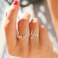 LOVE letters YOU heart-shaped ring